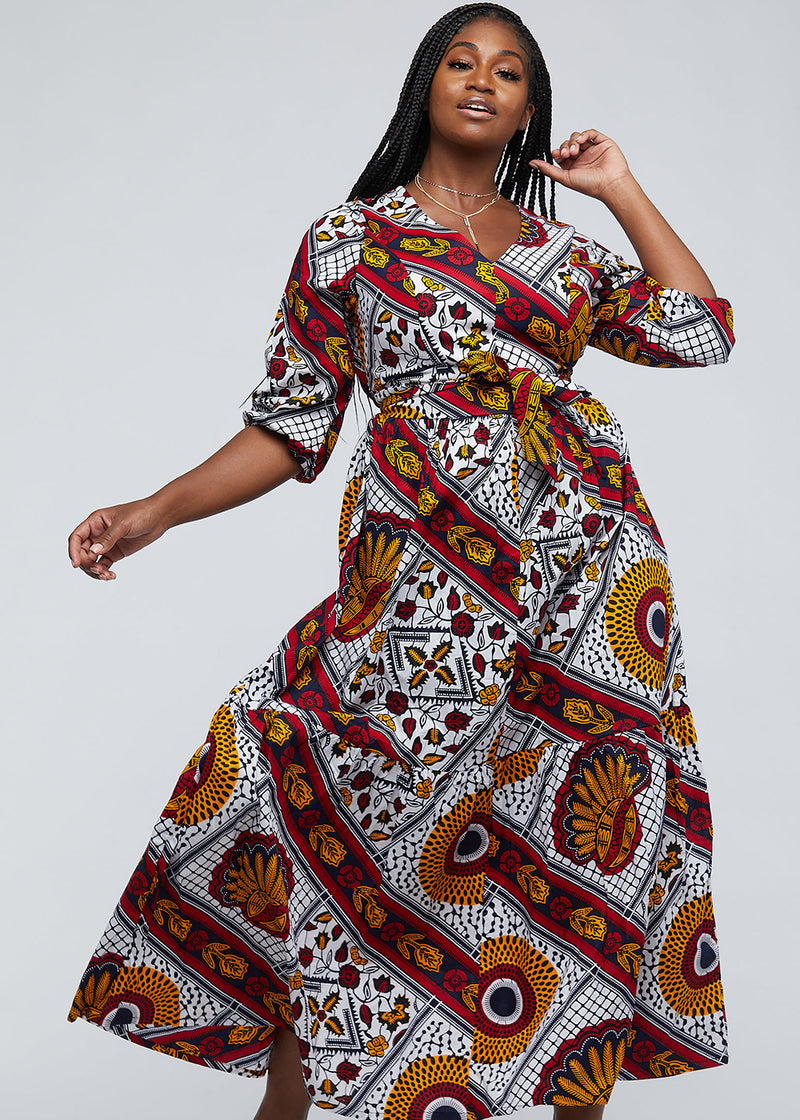 Naenia African Print Tiered V-neck Maxi Dress (White Gold Multipattern)