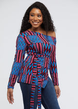 Nafula African Print One-Shoulder Top with Slit (Maroon Blue Kente)