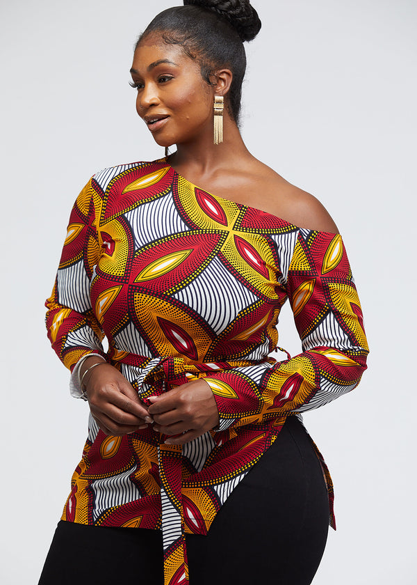 Nafula African Print One-Shoulder Top with Slit (Red Gold Leaves)