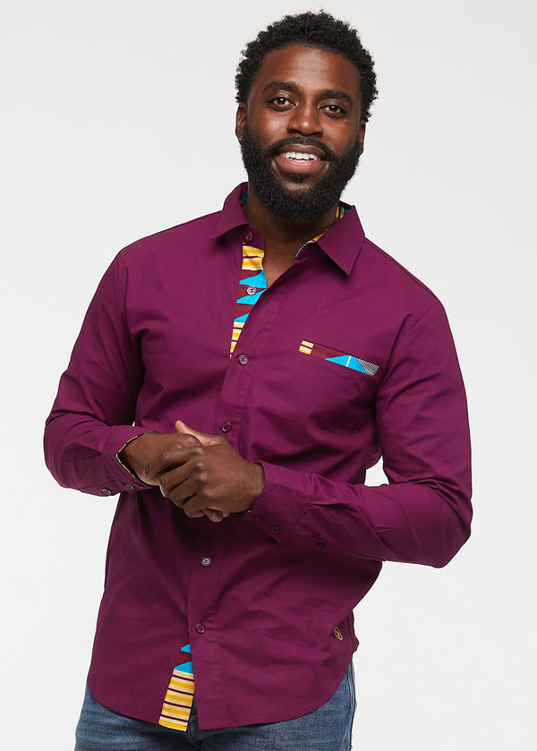 Obasi Men's Long Sleeve Button-Up (Plum/Blue Tan Kente) - Clearance