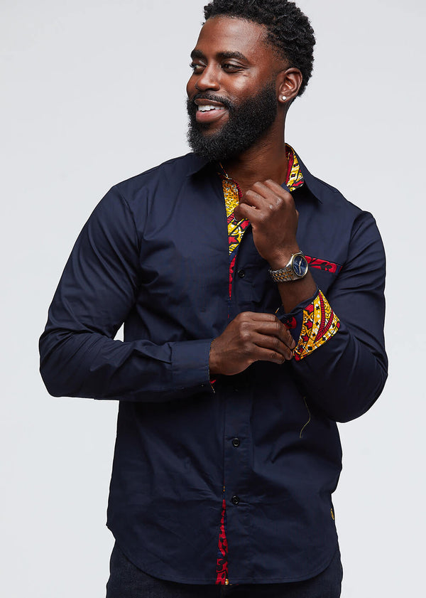 Obasi Men's Long Sleeve Button-Up (Navy/Navy Gold Paisley) - Clearance