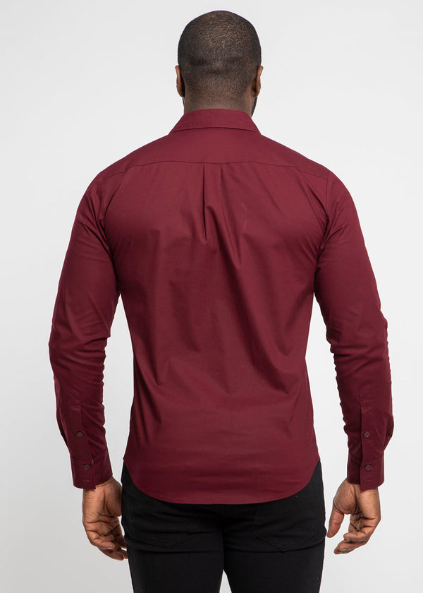 Obasi African Print Long Sleeve Button-Up (Maroon/Navy Maroon Geometric)