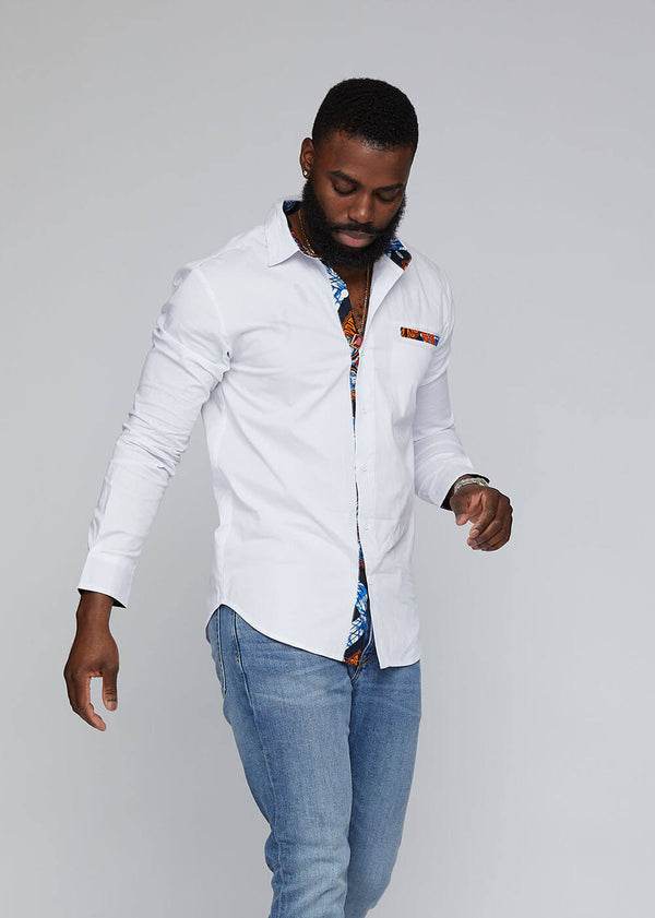 Obasi African Print Long Sleeve Button-Up (White/Navy Orange Tiles)