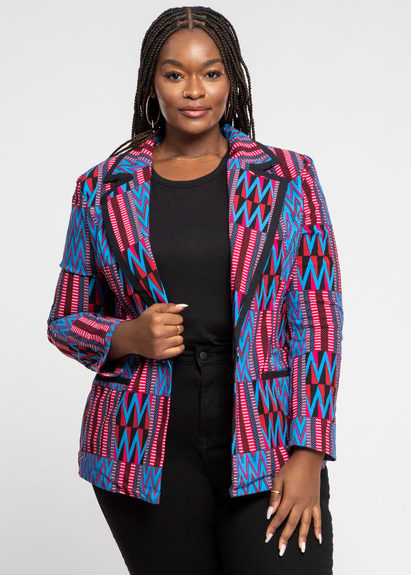 Oga African Print Color-Blocked Blazer (Magenta Blue Kente)