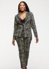 Oga African Print Color-Blocked Blazer (Black White Tribal)