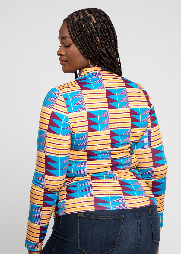 Olori African Print Turtleneck Top (Tan Blue Kente)