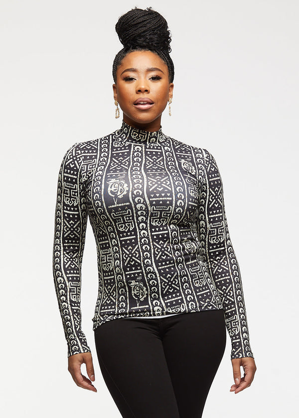 Olori African Print Turtleneck Top (Black White Tribal)