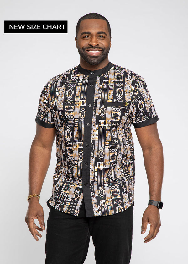 Olu African Print Mandarin Collar Button-Up (Black Tan Tribal)