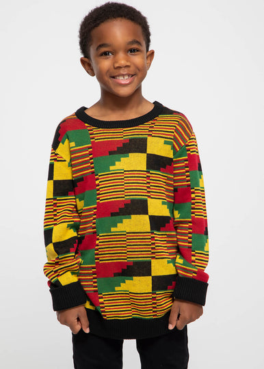 Oma Kid's African Print Sweater (Yellow Red Kente)