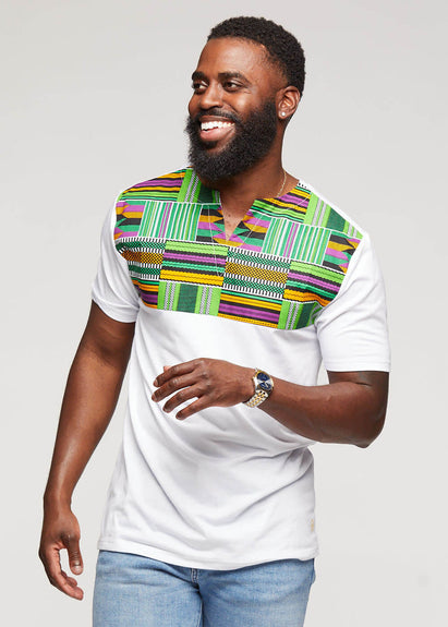Omondi African Print Traditional Color Block Shirt (White/Green Purple Kente)