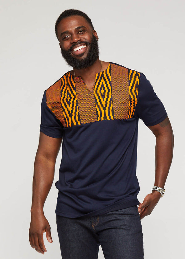 Omondi African Print Traditional Color Block Shirt (Navy/ Orange Navy Diamonds)