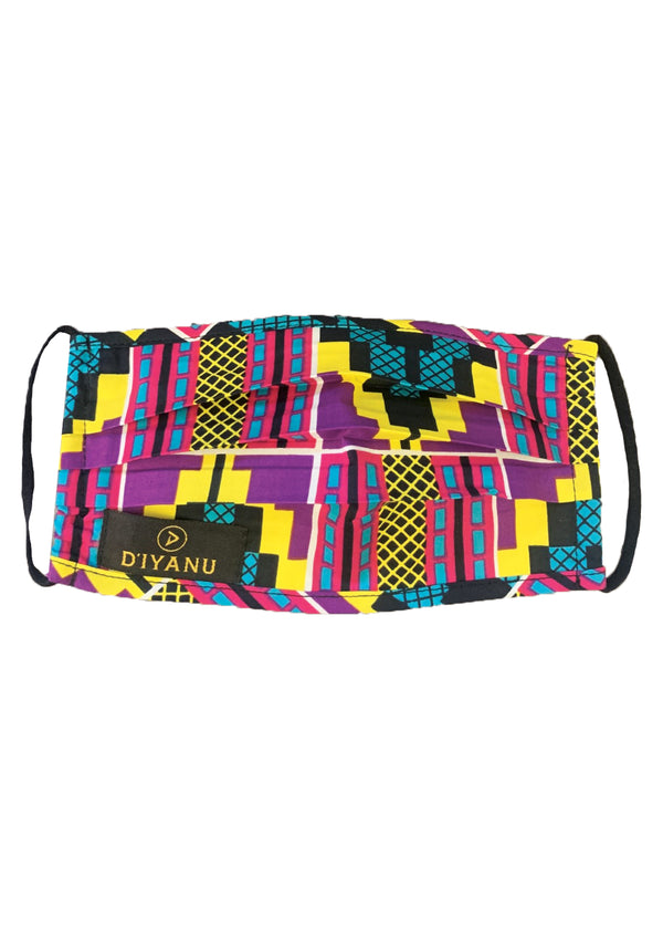 Uzo African Print 2 Layer Reusable Face Mask (Purple Turquoise Kente)