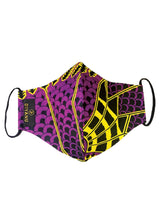 Dabo African Print 2 Layer Reusable Face Mask (Purple, Black, and Yellow Fans)