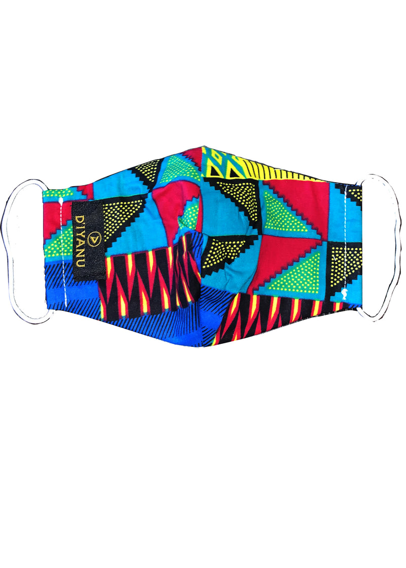 Shaka African Print 3 Layer Reusable Face Mask (Royal Blue Gold Kente) - Clearance