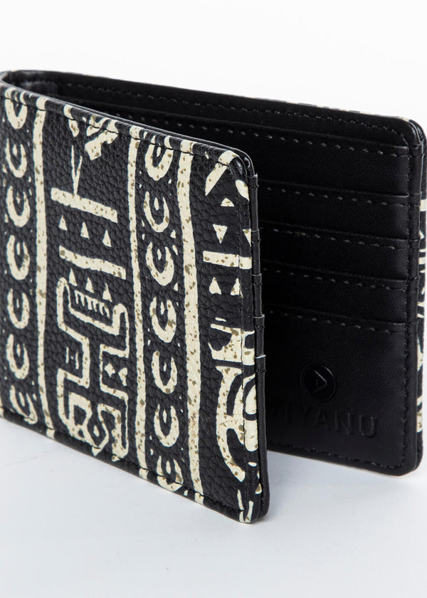 Rafa African Print Men's Vegan Leather Wallet (Black White Tribal)