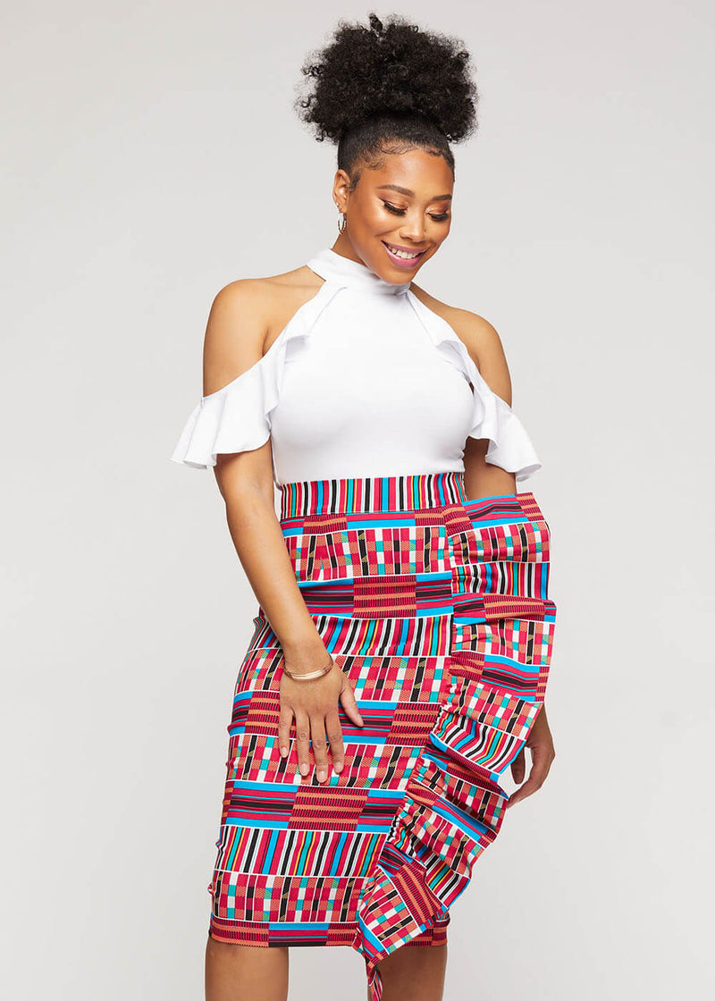 Raida African Print Midi Ruffled Pencil Skirt (Pink Blue Kente)