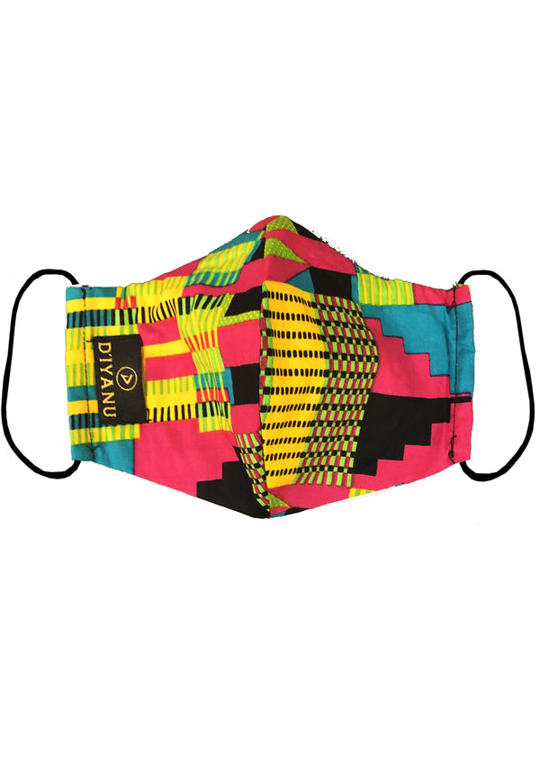 Dabo African Print 2 Layer Reusable Face Mask (Raspberry Yellow Kente)