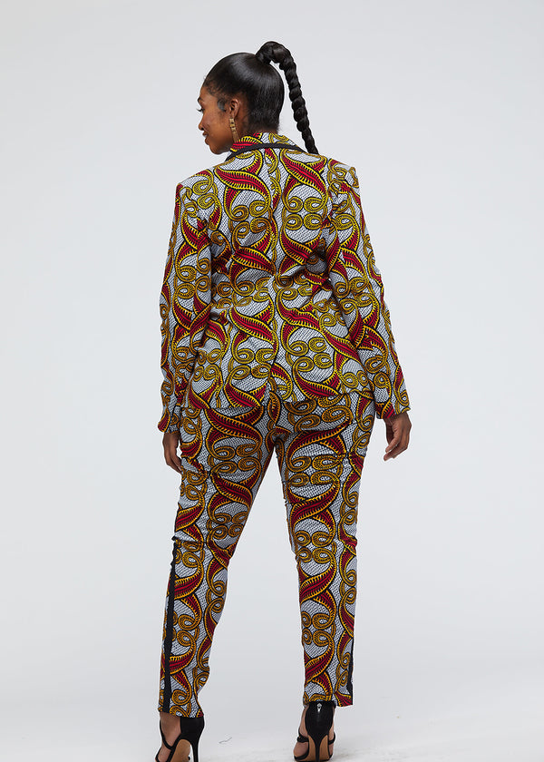 Oga African Print Color-Blocked Blazer (Red Yellow Vines)