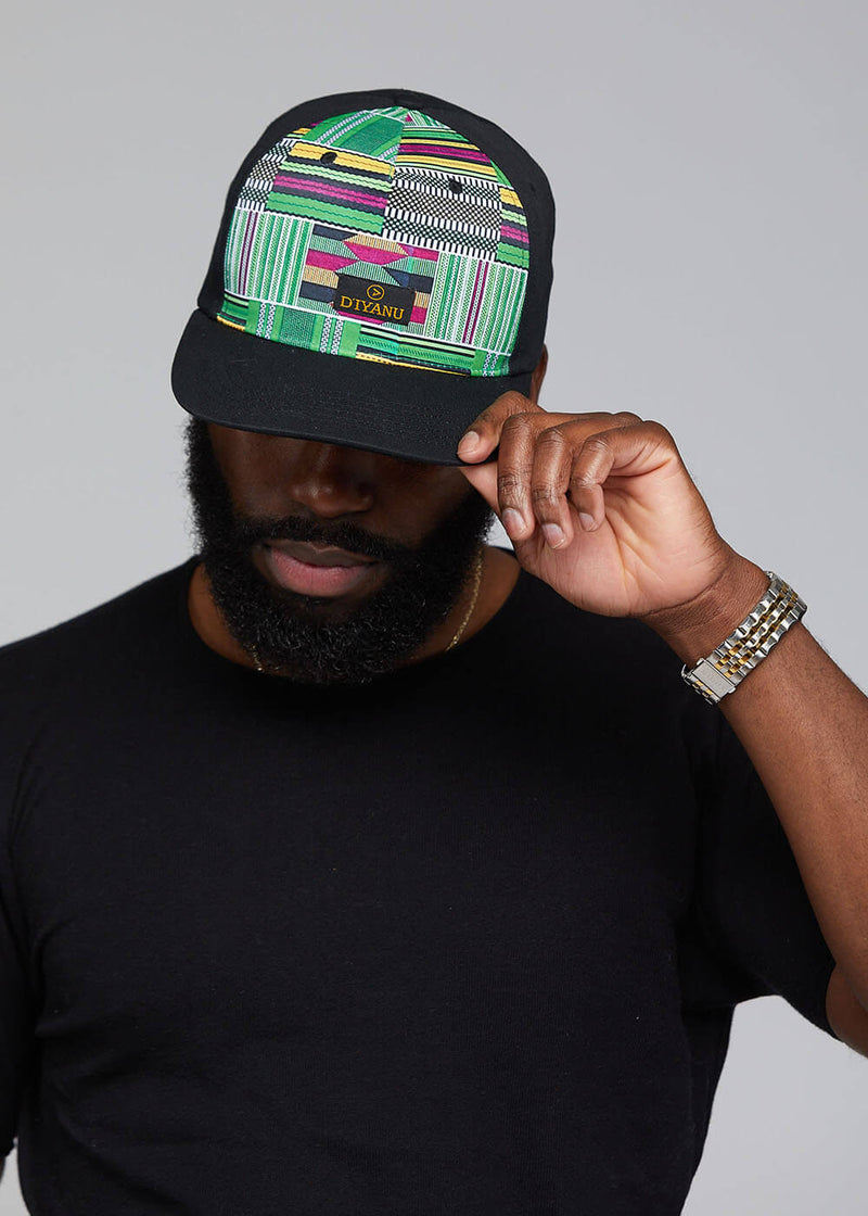 Reth African Print Color-block Hat (Black/Green Purple Kente) - Clearance