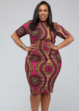 Sabella African Print Midi Dress ( Pink Golden Circles)