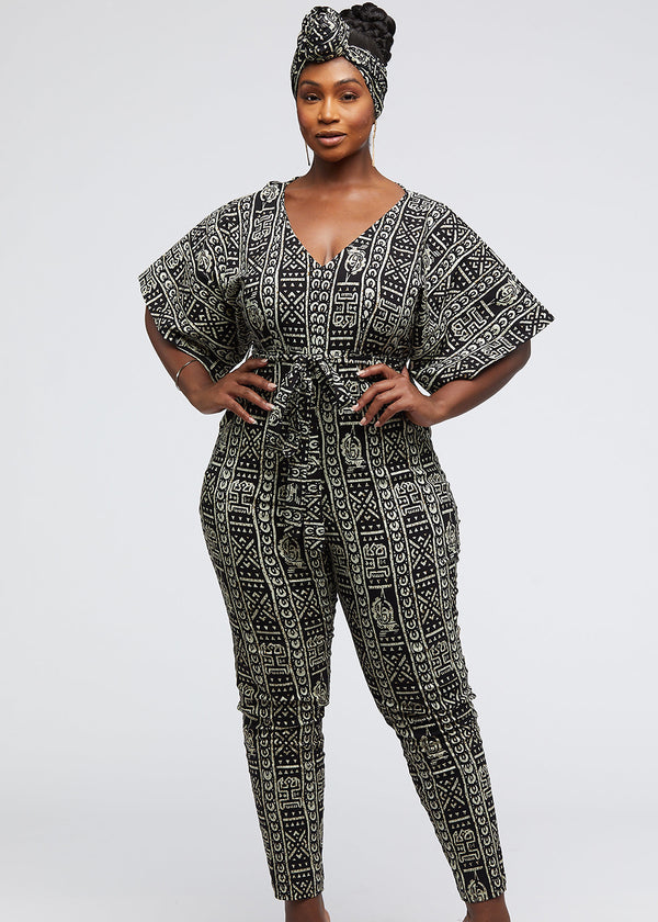 Sabra African Print Jumpsuit with Sash (Black White Tribal)