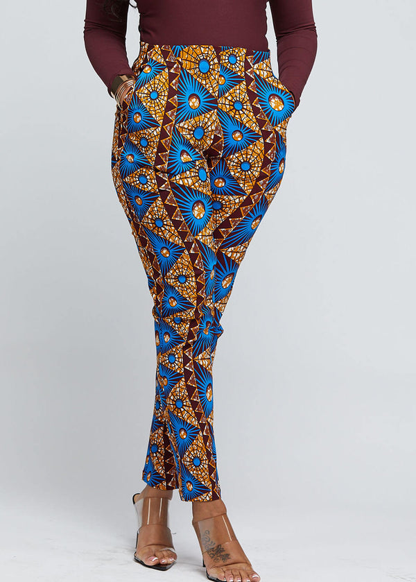 Safina African Print Stretch Fitted High-Waisted Pants (Blue Pyramids)