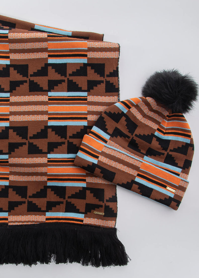 Amira African Print Knit Hat with Faux Fur Puff Ball (Brown Orange Kente)