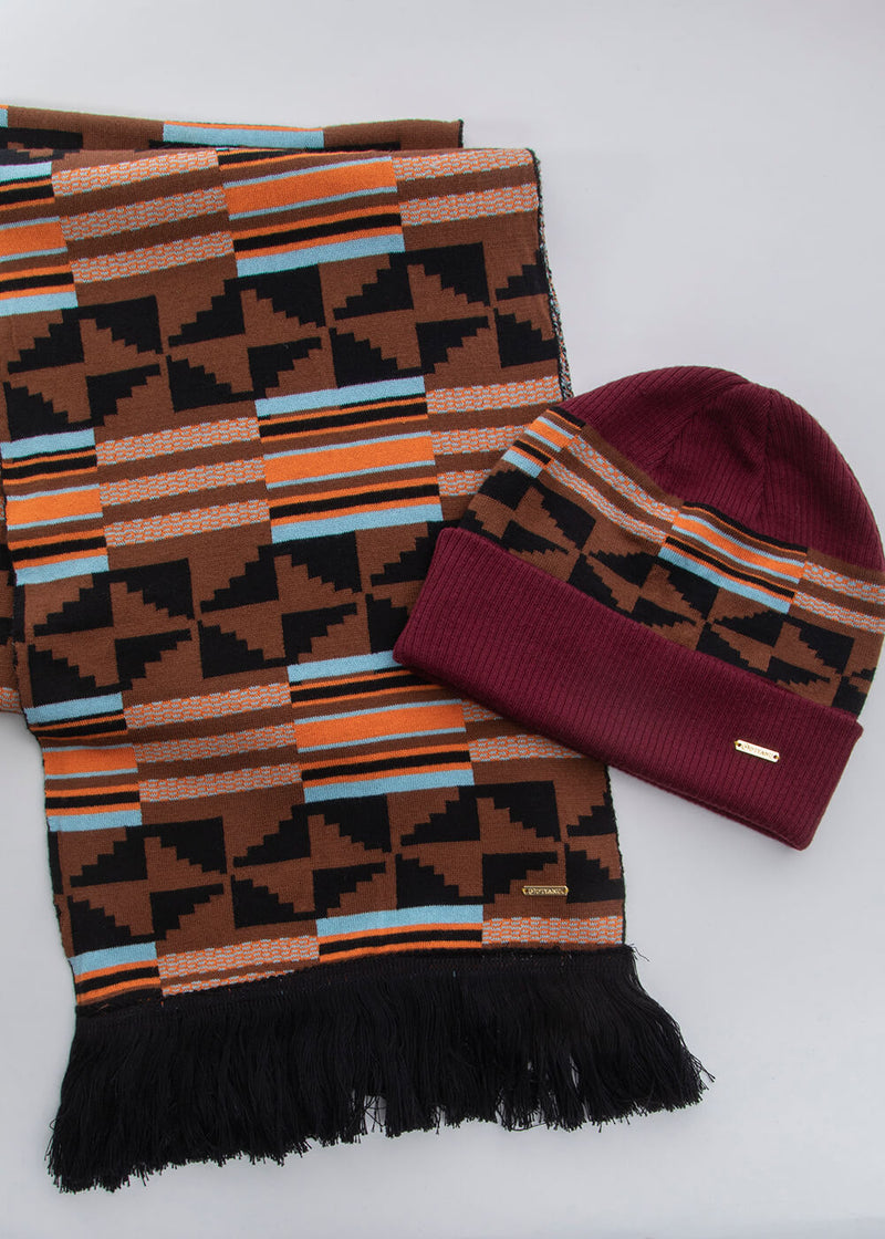 Isimi African Print Color-Block Knit Hat (Maroon/Brown Orange Kente) - Clearance