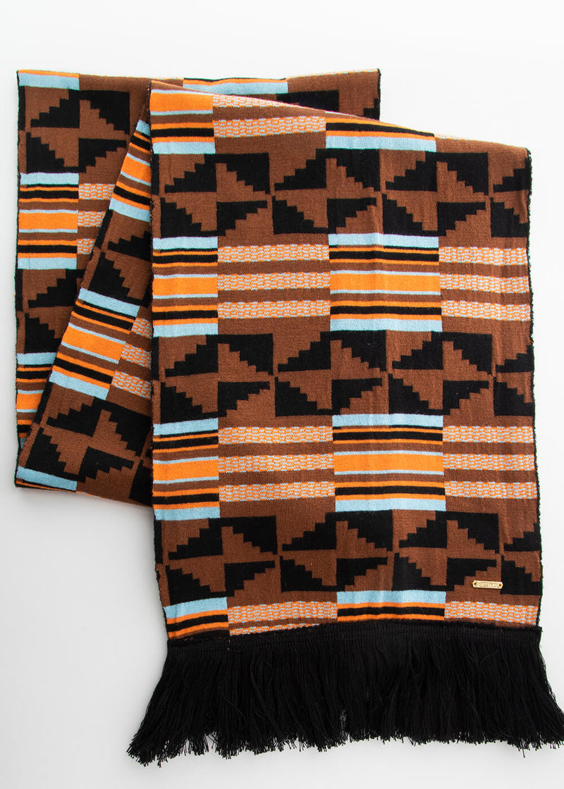 Seda African Print Knit Scarf (Brown Orange Kente)