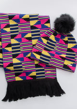 Amira African Print Knit Hat with Faux Fur Puff Ball (Pink Yellow Kente) - Clearance