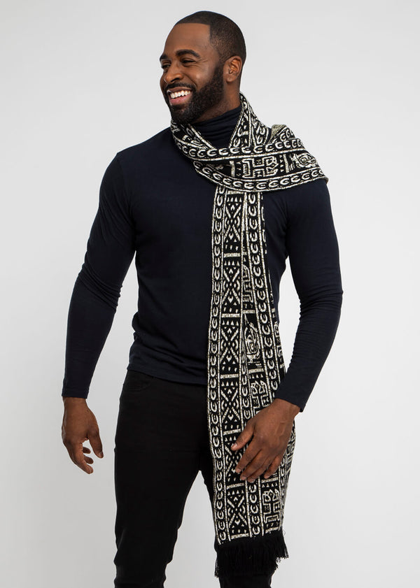 Seda African Print Knit Scarf (Black White Tribal)