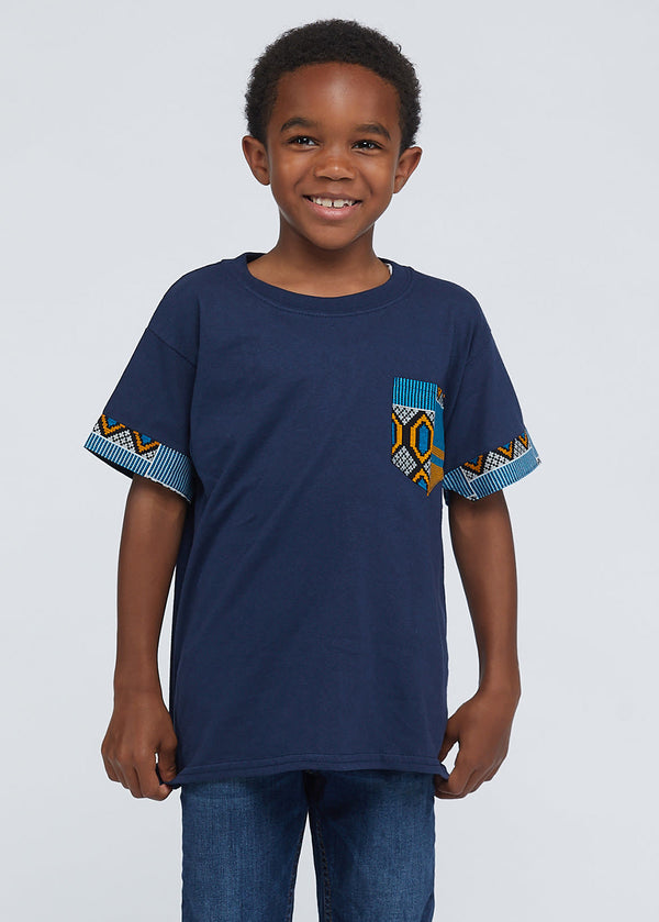 Little Seun Boy's African Print T-Shirt (Blue/Tan/Navy)