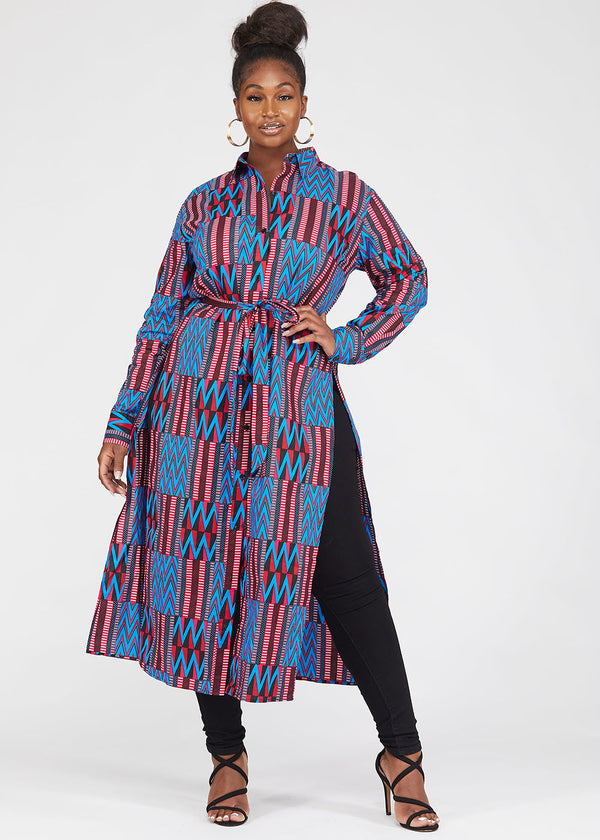 Seyori African Print Button-Up Shirt (Magenta Blue Kente)