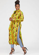 Seyori African Print Button-Up Shirt (Gold Maroon Kente)