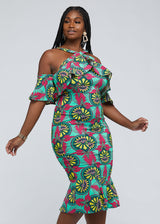 Sikudani African Fitted Tier Dress (Green Pink Sunrise)