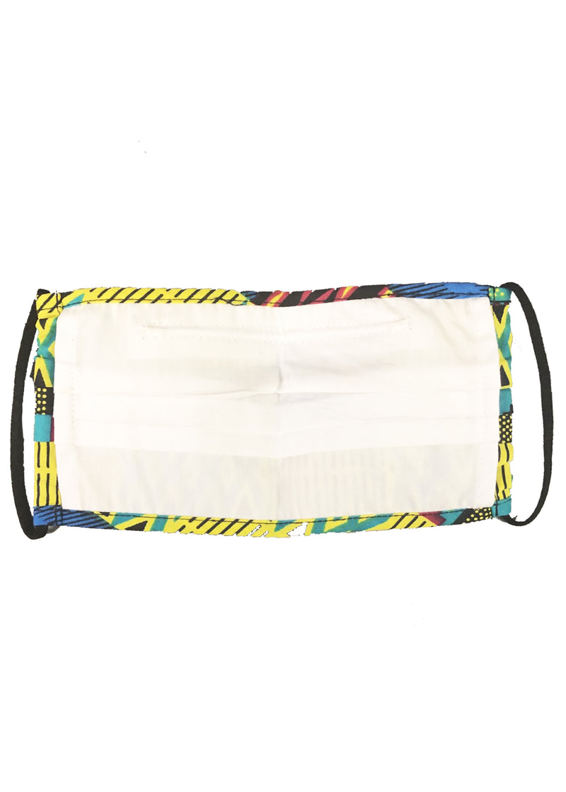 Uzo African Print 2 Layer Reusable Face Mask (Royal Blue Gold Kente)