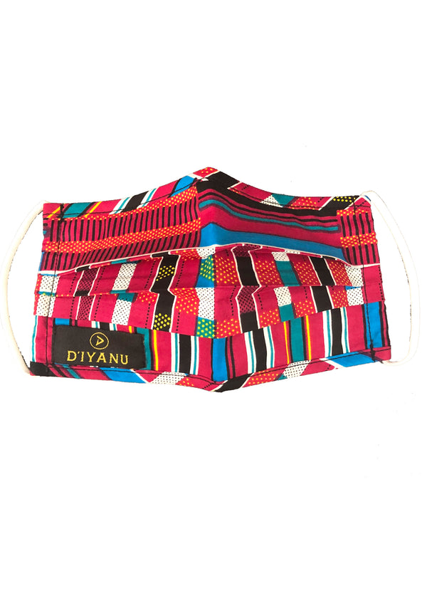 Uzo African Print 2 Layer Reusable Face Mask (Pink Blue Kente)