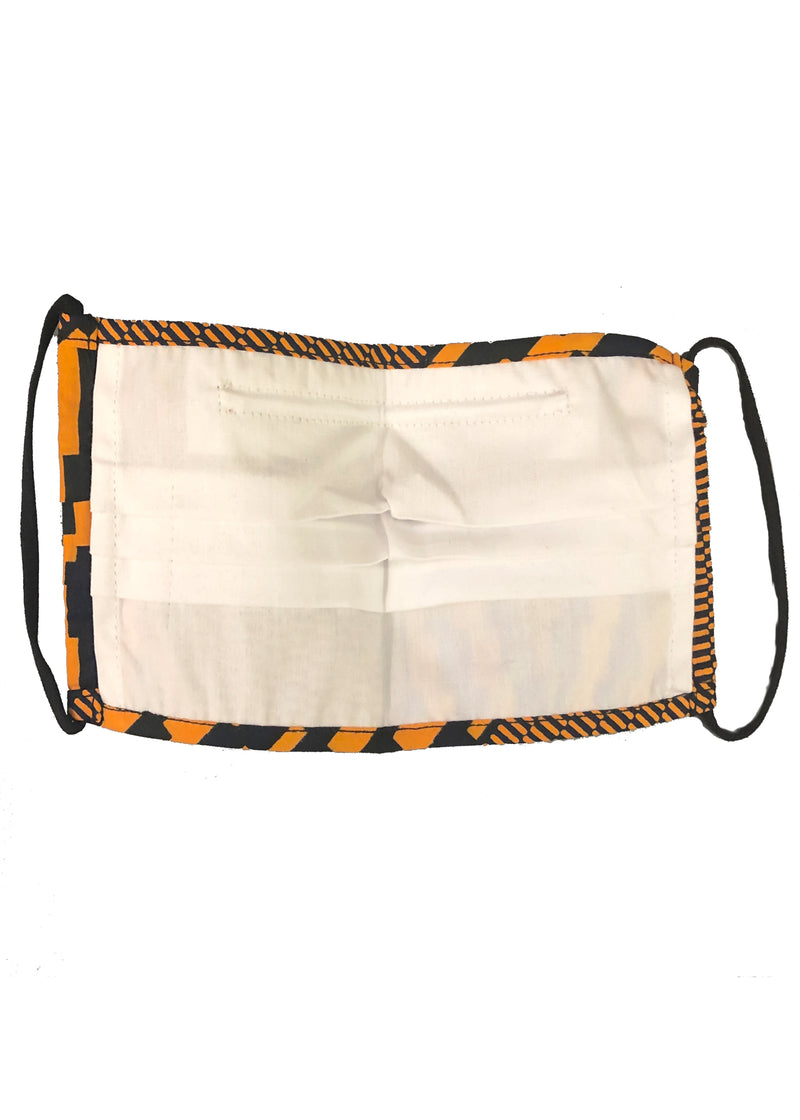 Uzo African Print 2 Layer Reusable Face Mask (Orange Navy Diamond)