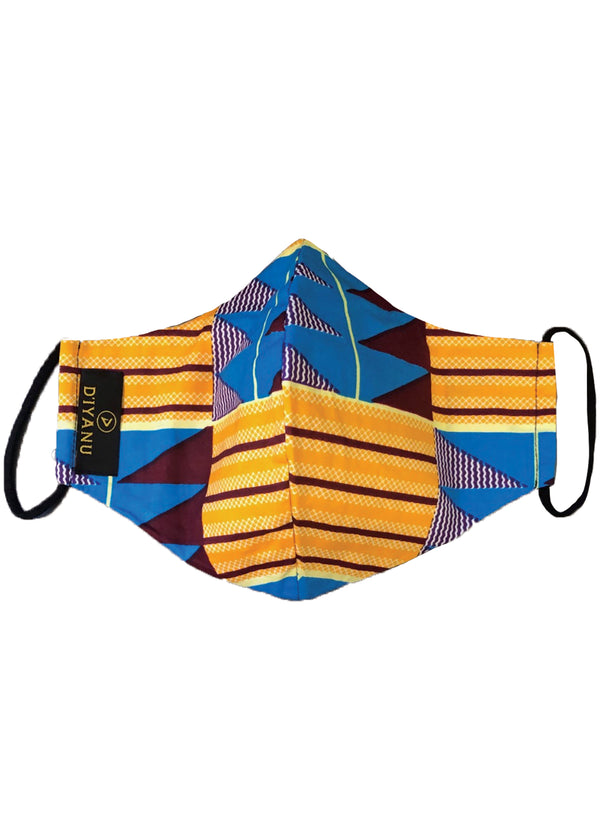 Dabo African Print 2 Layer Reusable Face Mask (Tan Blue Kente)
