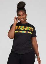 Tanisha African Print Color-Block Tee Black/ Gold Maroon Kente