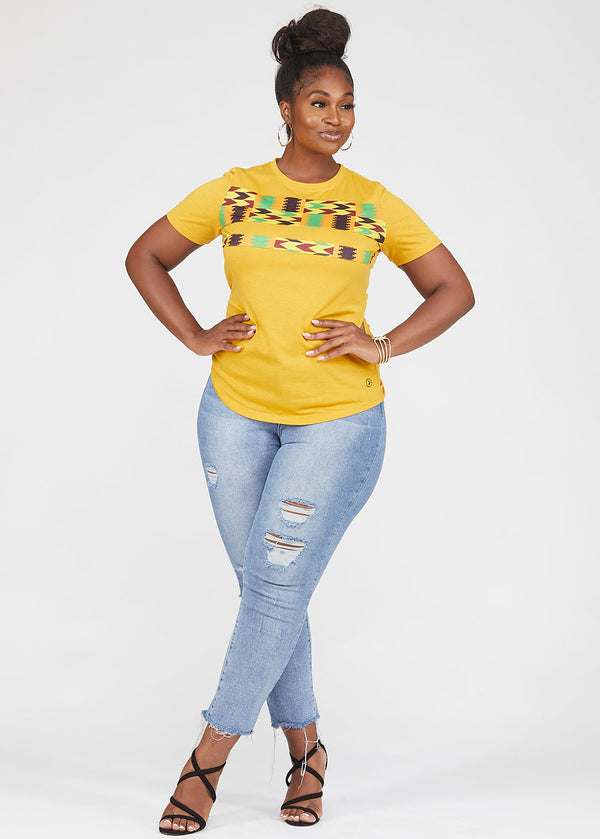 Tanisha African Print Color-Block Tee Gold/Gold Maroon Kente