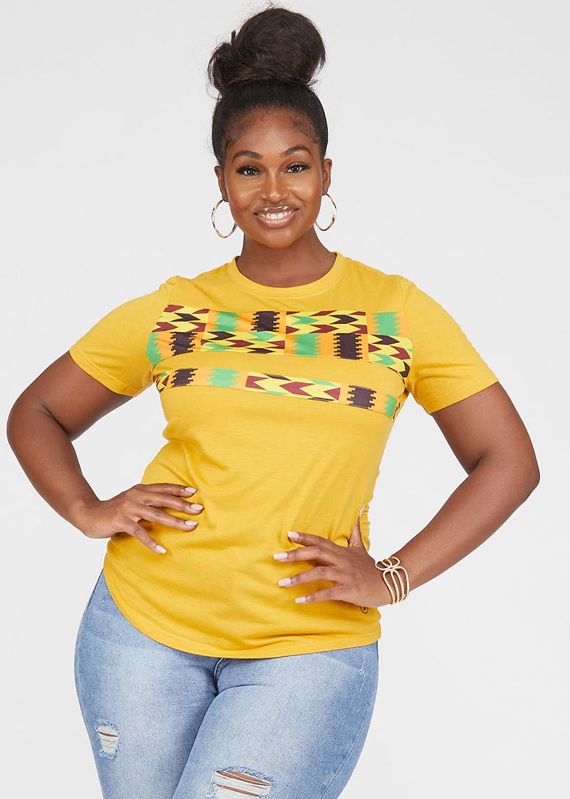 Tanisha African Print Color-Block Tee Gold/Gold Maroon Kente- Clearance