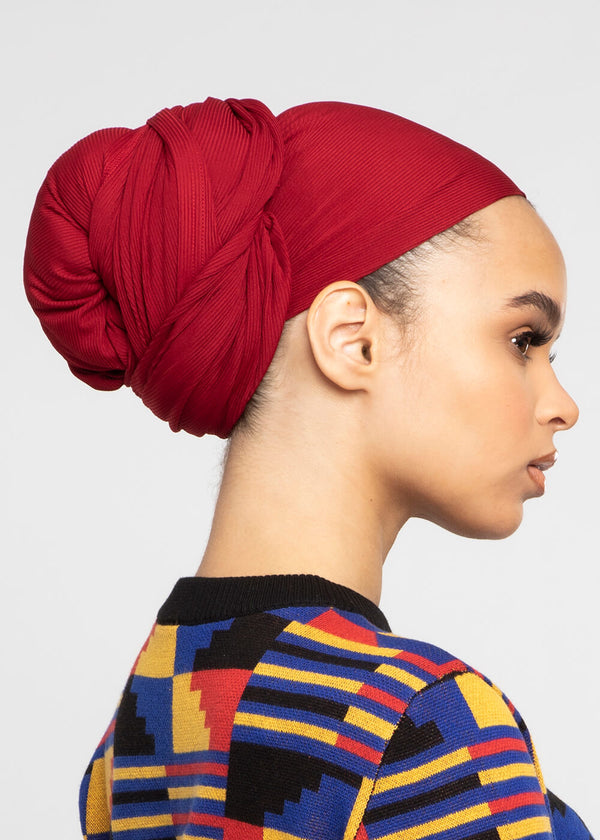 Tiara Rib Knit Head Wrap (Maroon)