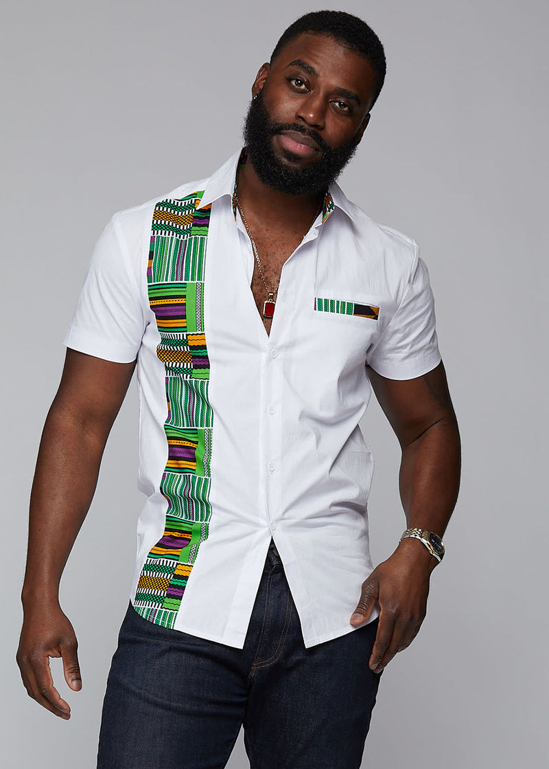 Tumelo African Print Appliqué Button-Up Shirt (White/Green Purple Kente) - Clearance