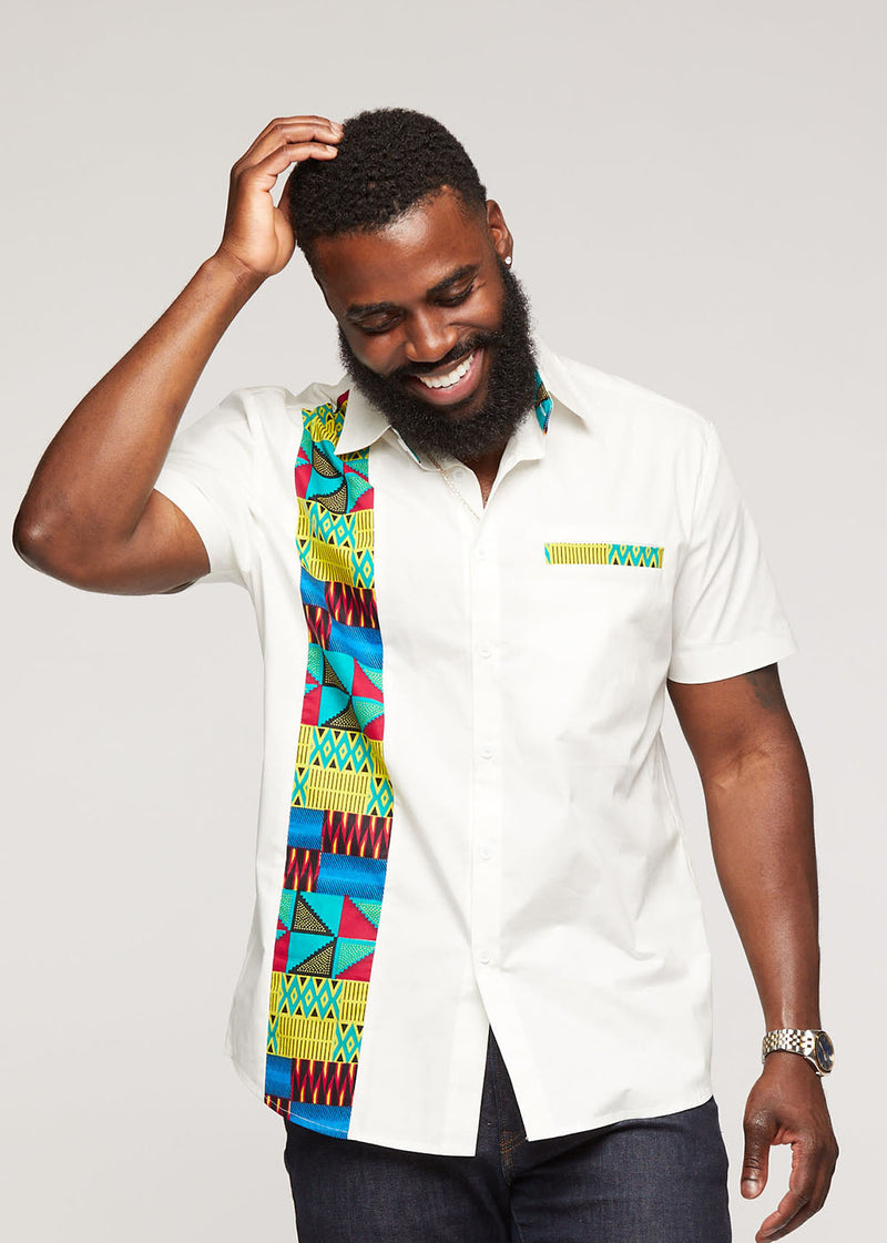 Tumelo African Print Appliqué Button-Up Shirt (White/Royal Blue Gold Kente) - Clearance