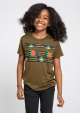 Umi African Print Color Blocked T-shirt (Olive Green/Black Green Kente)