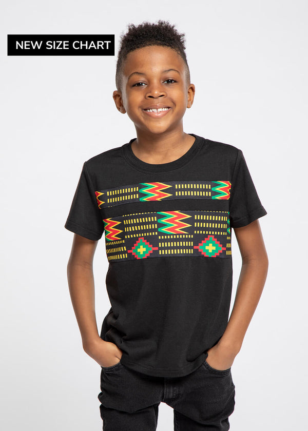 Umi African Print Color Blocked T-shirt (Black/Black Green Kente)