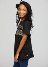 Umi African Print Kid's Color Block Tee (Black/ Black Gold Mudcloth)