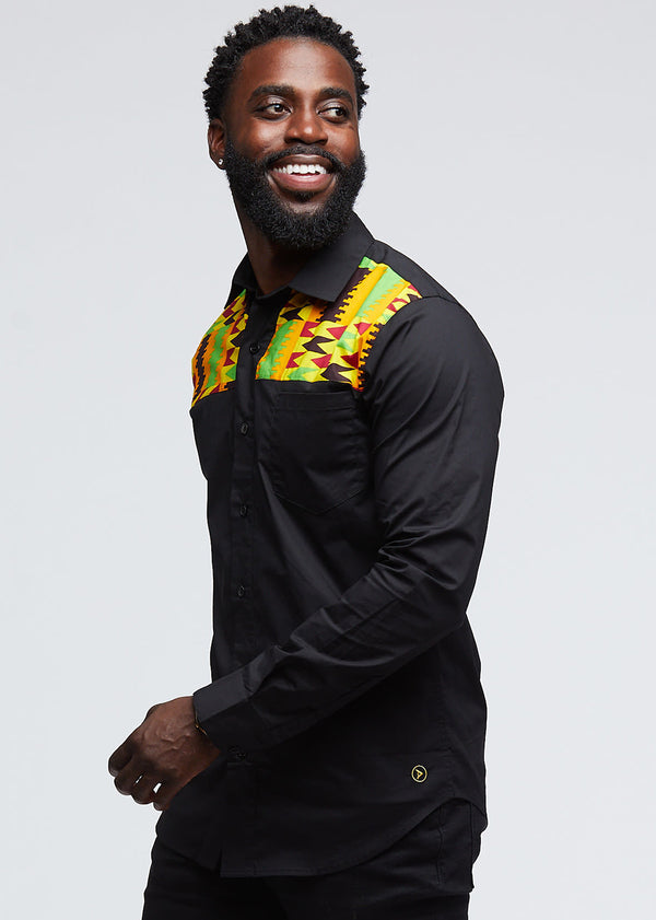 Urso African Print Color-Blocked Button-Up Shirt (Black/Maroon Gold Kente)