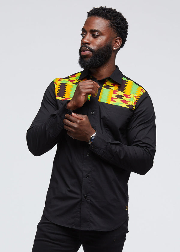 Urso African Print Color-Blocked Button-Up Shirt (Black/Maroon Gold Kente) - Clearance